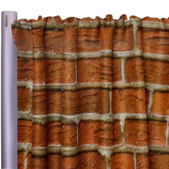 "Brick Poly Print Drapery Panels (58"" Wide) 1 color"