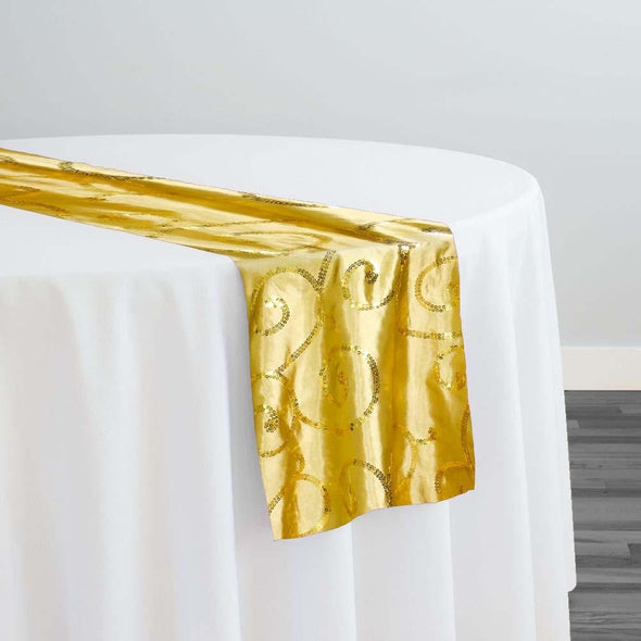 Swirl Sequins Taffeta Table Runner in Gold