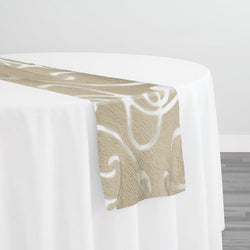Contempo Scroll Sheer Table Runner in Champagne