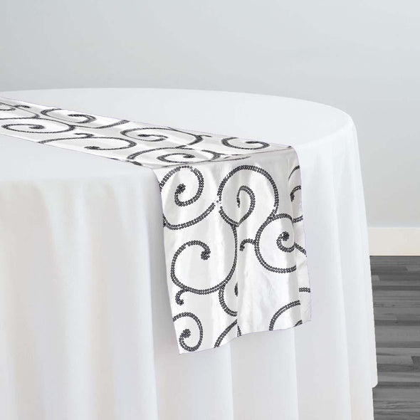 Swirl Sequins Taffeta Table Runner in Black and White