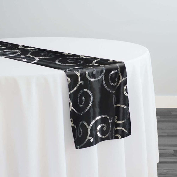 Swirl Sequins Taffeta Table Runner in Silver and Black