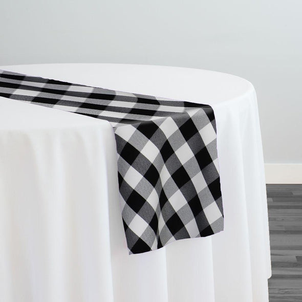 Polyester Checker (Gingham) Table Runner in Black