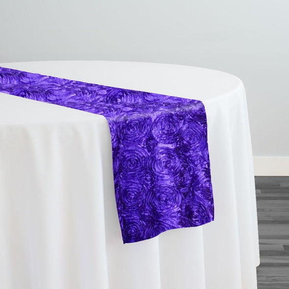 Rose Satin (3D) Table Runner in Purple