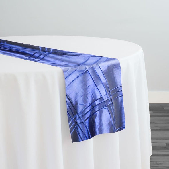 Triple Pleat Pintuck Table Runner in Navy