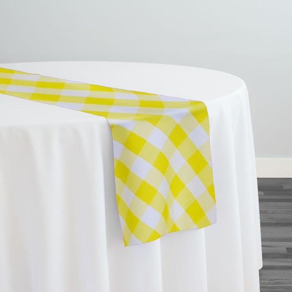 Polyester Checker (Gingham) Table Runner in Light Yellow