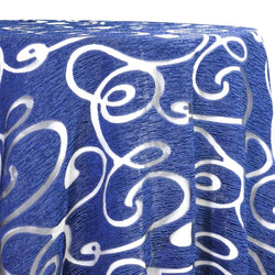 Contempo Scroll Sheer Table Linen in Royal