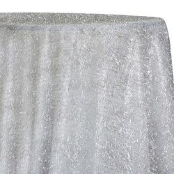 String Metallic Table Linen in White and Silver