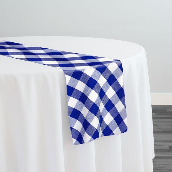 Polyester Checker (Gingham) Table Runner in Royal