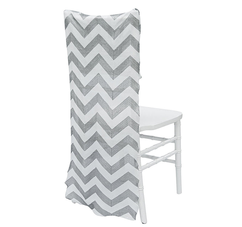 Chevron Sequins Chair Back - Silver/White