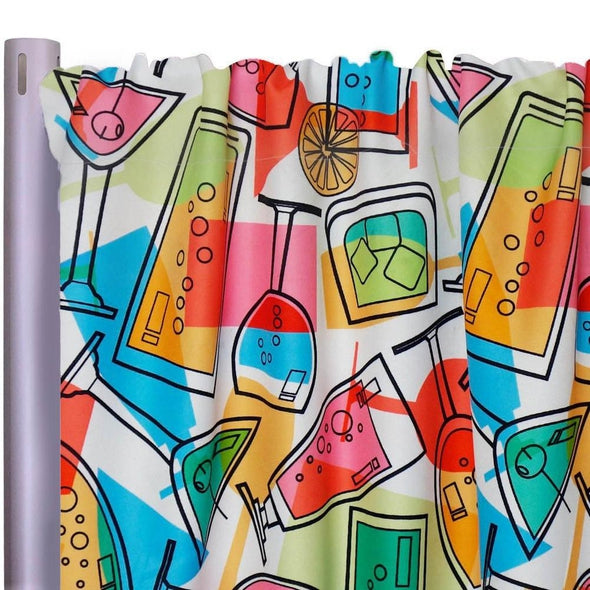 "Cocktails Poly Print Drapery Panels (58"" Wide)"