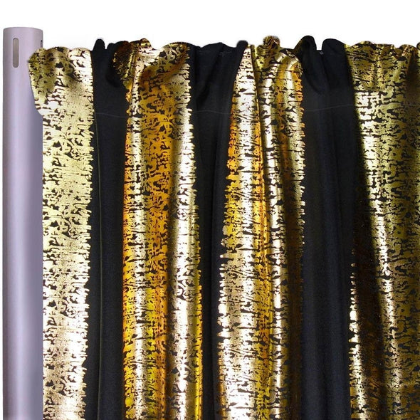 "Stripe Metallic Print Drapery Panels (58"" Wide) / 4 Colors"