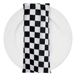 "Lamour Print Table Napkins in 1""x1"" Checker"
