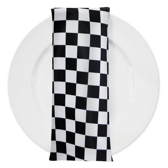 "1"" & 4"" Lamour Checker Print Table Napkin in 1""x1"" Checker"