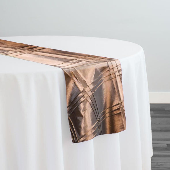 Triple Pleat Pintuck Table Runner in Taupe Gold