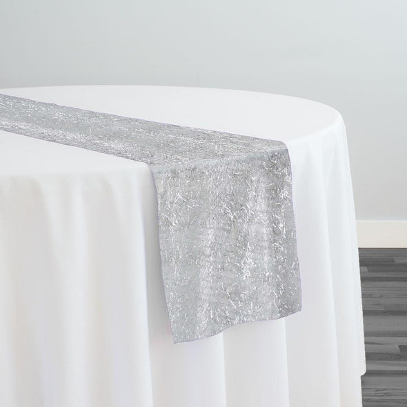 String Metallic Table Runner in White and Silver