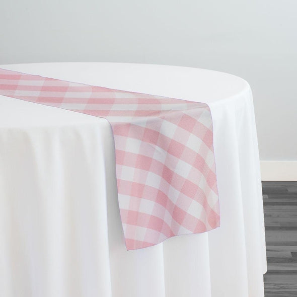 Polyester Checker (Gingham) Table Runner in Pink