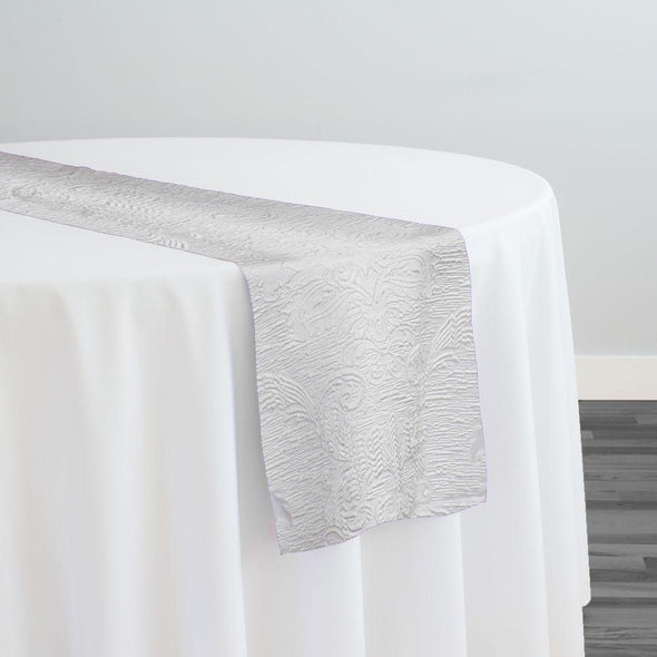 Regency Damask Sheer Table Runner in White