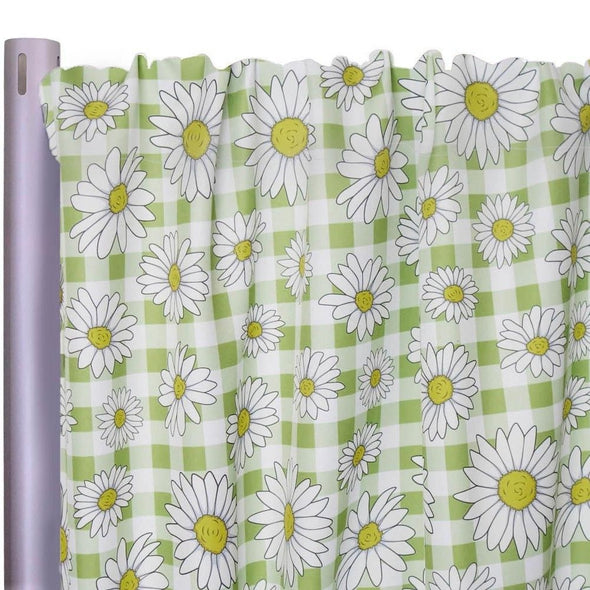 "Daisy Checker Poly Print Drapery Panels (58"" Wide)"
