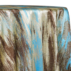 Static Jacquard Table Linen in Turquoise and Brown