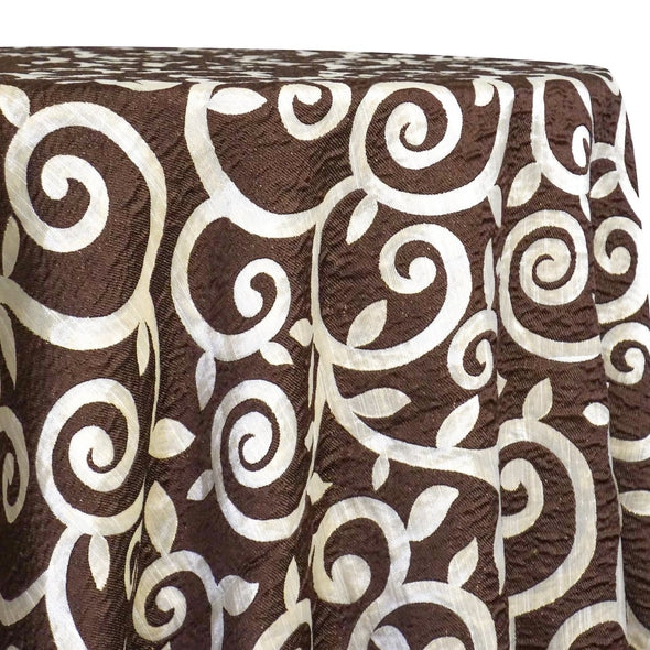 Tuscany Jacquard (Reversible) Table Linen in Brown and Taupe