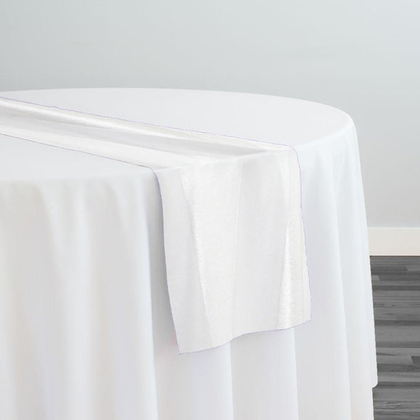 Velvet Stripe Table Runner in White
