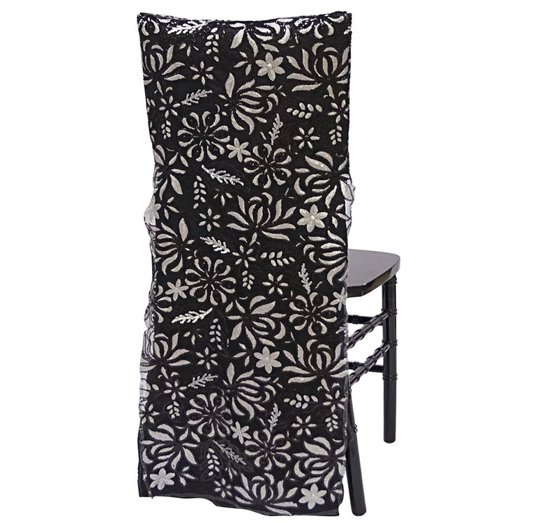 Starlight Sequins Chair Back - Black/Silver