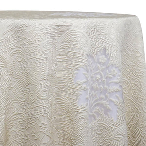 Regency Damask Sheer Table Linen in Ivory