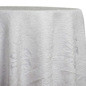 Regency Damask Sheer Table Linen in White