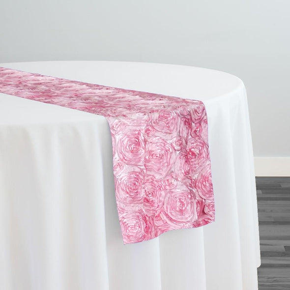 Rose Satin (3D) Table Runner in Dark pink