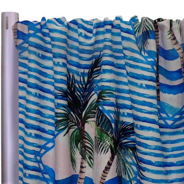 "Caribbean Blues (Poly Print) Drapery Panels (58"" Wide) 1 color"