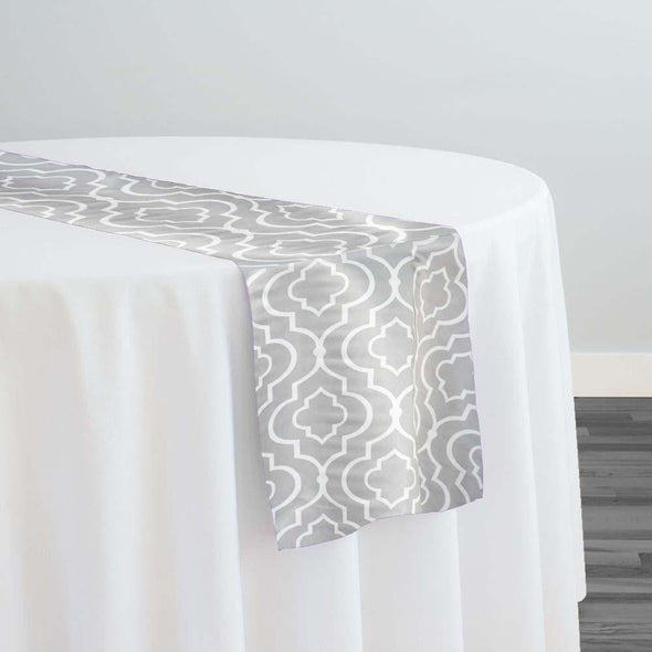 Gatsby Print (Lamour) Table Runner in Silver