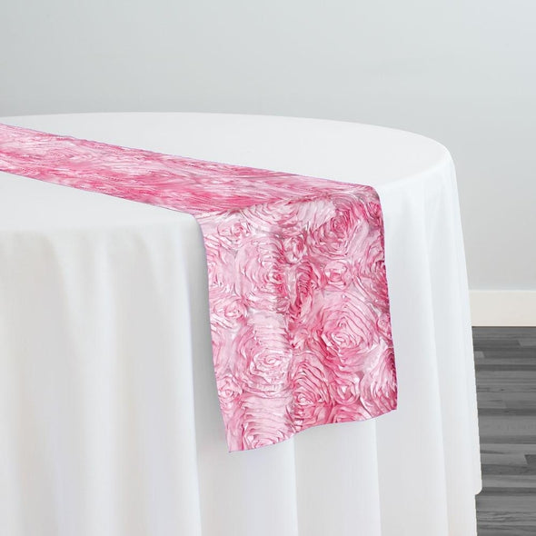 Rose Satin (3D) Table Runner in Pink D 157