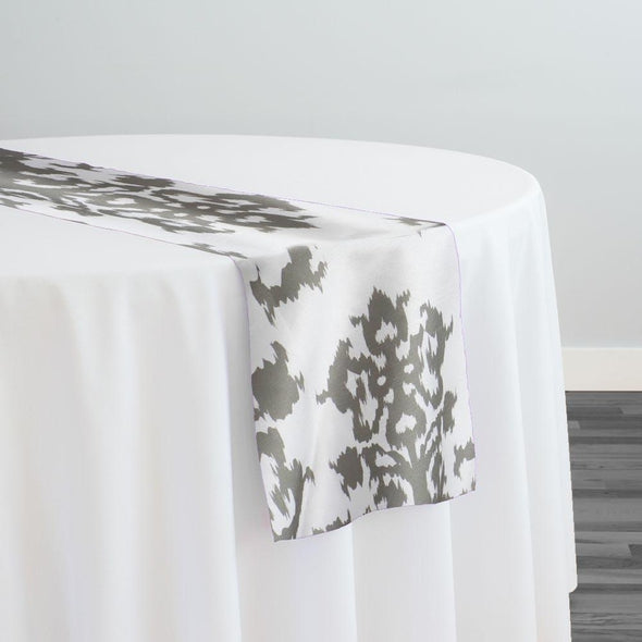 Newport Print (Dupioni) Table Runner in Silver