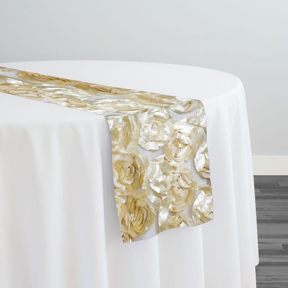 Peony Bouquet Table Runner in Champagne