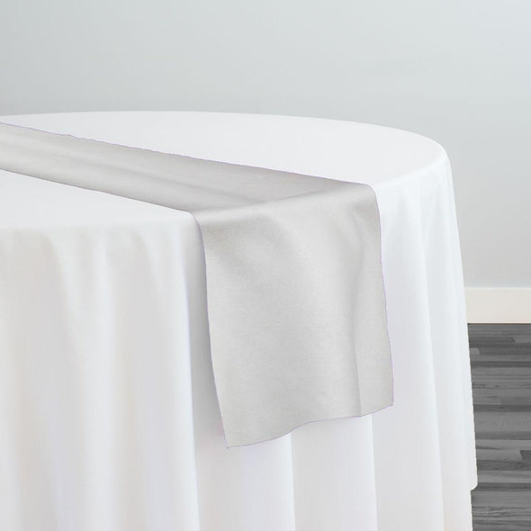 Microfiber Suede Table Runner in White