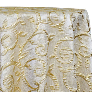 Tuscany Jacquard (Reversible) Table Linen in Champagne and Gold