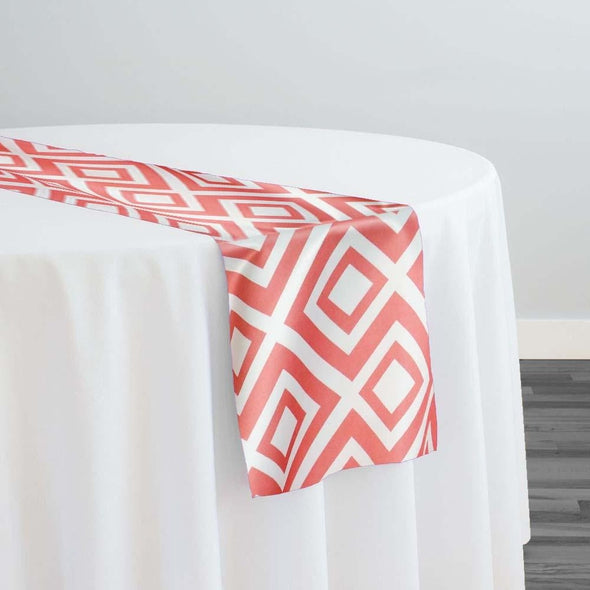 Paragon Print (Lamour) Table Runner in Coral
