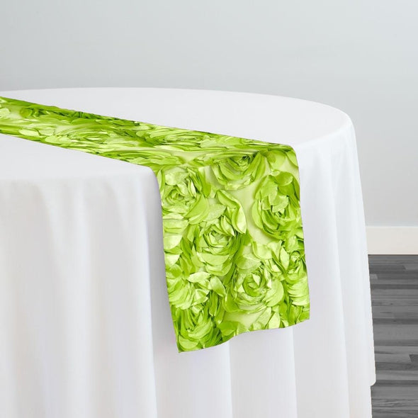 Peony Bouquet Table Runner in Lime