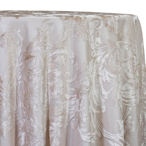 Victorian Jacquard Sheer Table Linen in Champagne