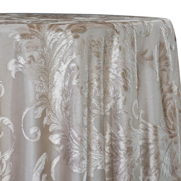 Victorian Jacquard Sheer Table Linen in Taupe