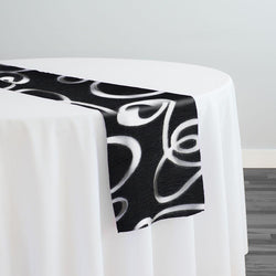Contempo Scroll Sheer Table Runner in Black