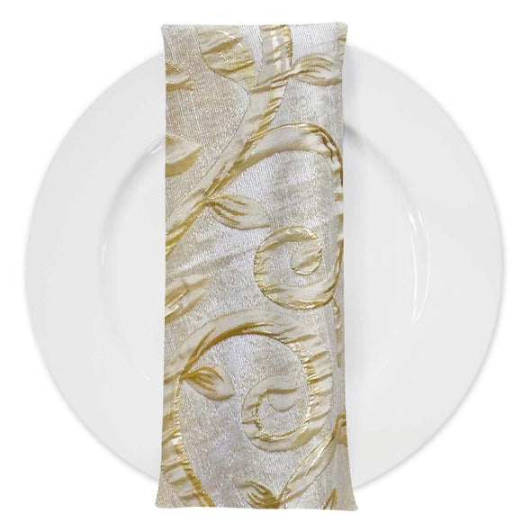 Tuscany (Double-Sided) Table Napkin in Champagne and Gold