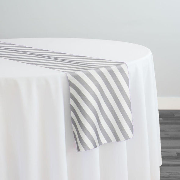 Seersucker Print Table Runner in Silver