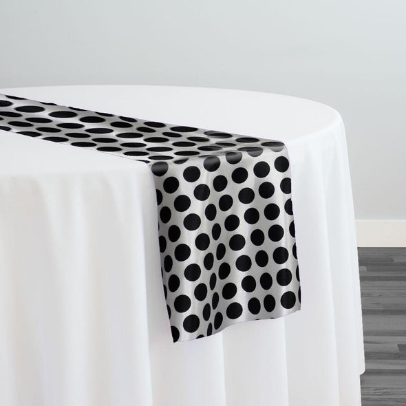 Satin Polka Dot Table Runner in Black and White