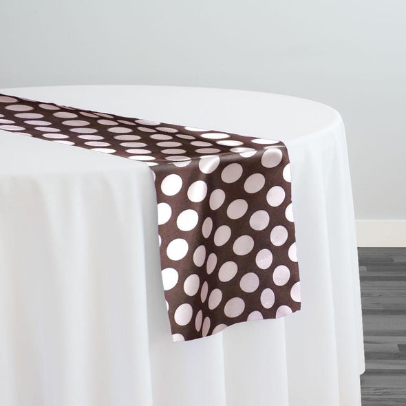 Satin Polka Dot Table Runner in Pink and Brown