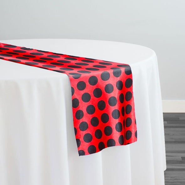 Satin Polka Dot Table Runner in Black and Red