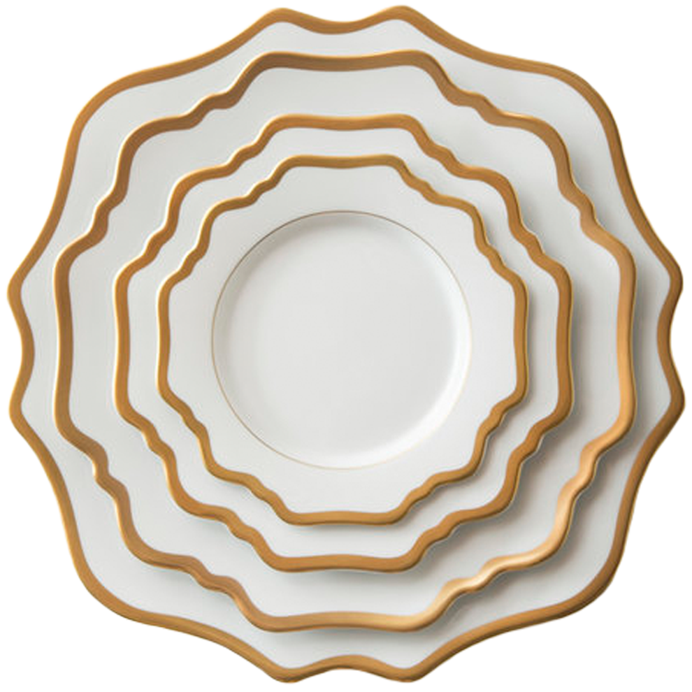 Casablanca Porcelain Collection in White/Gold