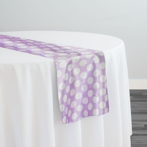 Satin Polka Dot Table Runner in White and Lilac