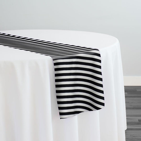 Seersucker Print Table Runner in Black