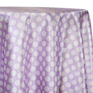 Satin Polka Dot Table Linen in White and Lilac